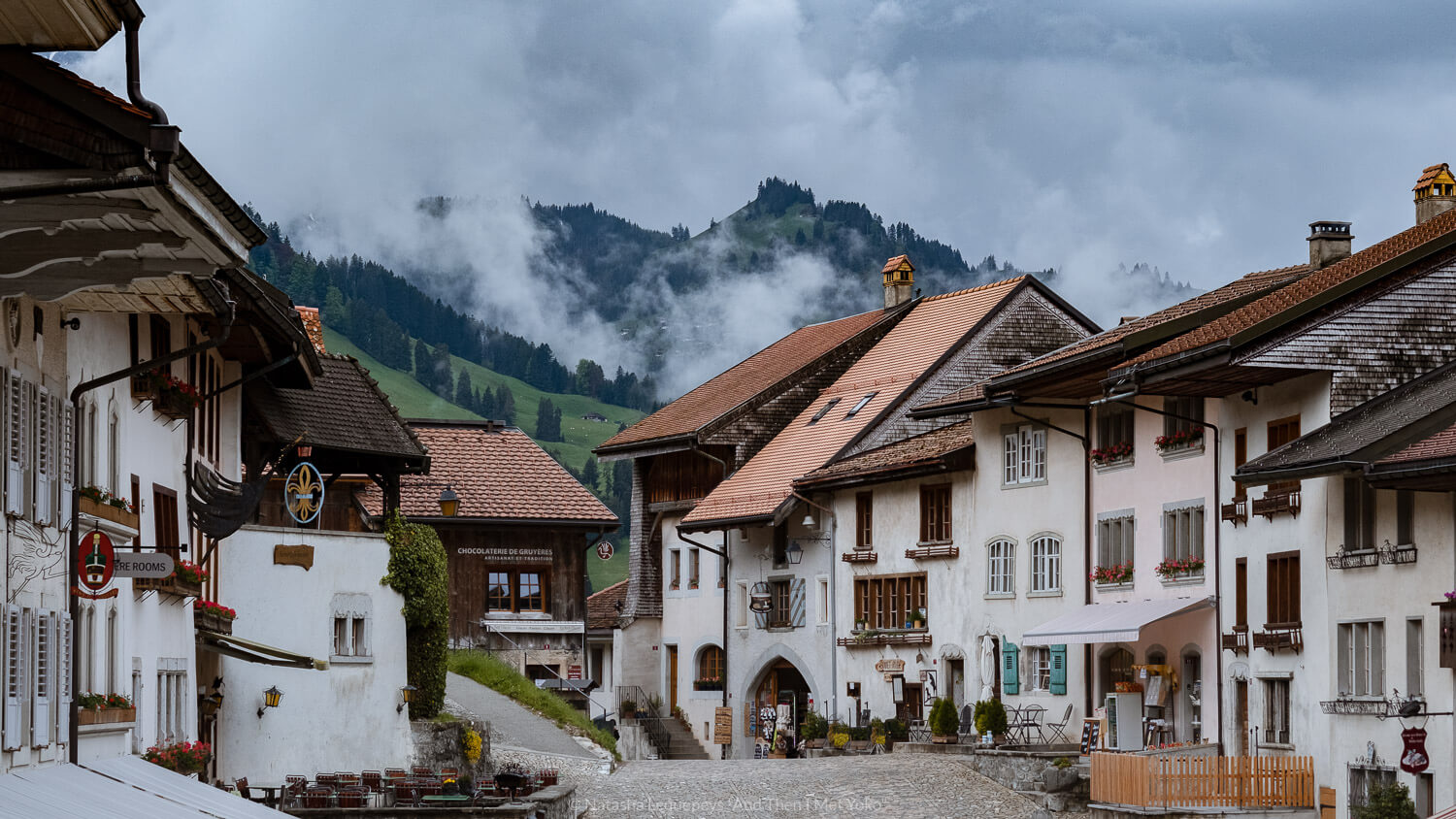 "The town of Gruyères, Switzerland. Travel photography and guide by © Natasha Lequepeys for ""And Then I Met Yoko"". #gruyere #switzerland #travelguide #travelphotography"
