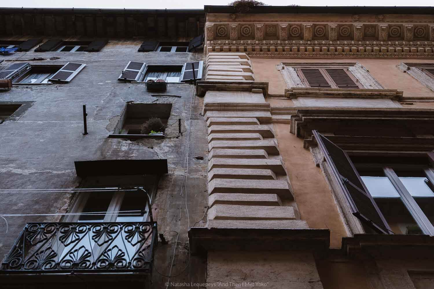 """Juxtaposition of the buildings inside the Jewish Ghetto and directly outside of it, Rome. Travel photography and guide by © Natasha Lequepeys for """"And Then I Met Yoko"""". #rome #jewishghettorome #italy #fujifilm #travelphotography"""