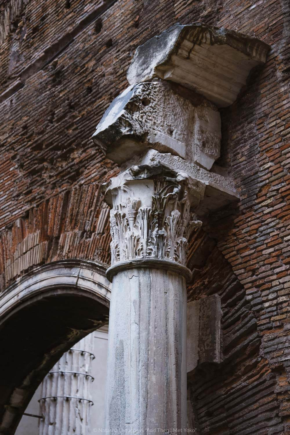 """Columns in the Jewish Ghetto, Rome. Travel photography and guide by © Natasha Lequepeys for """"And Then I Met Yoko"""". #rome #jewishghettorome #italy #fujifilm #travelphotography"""