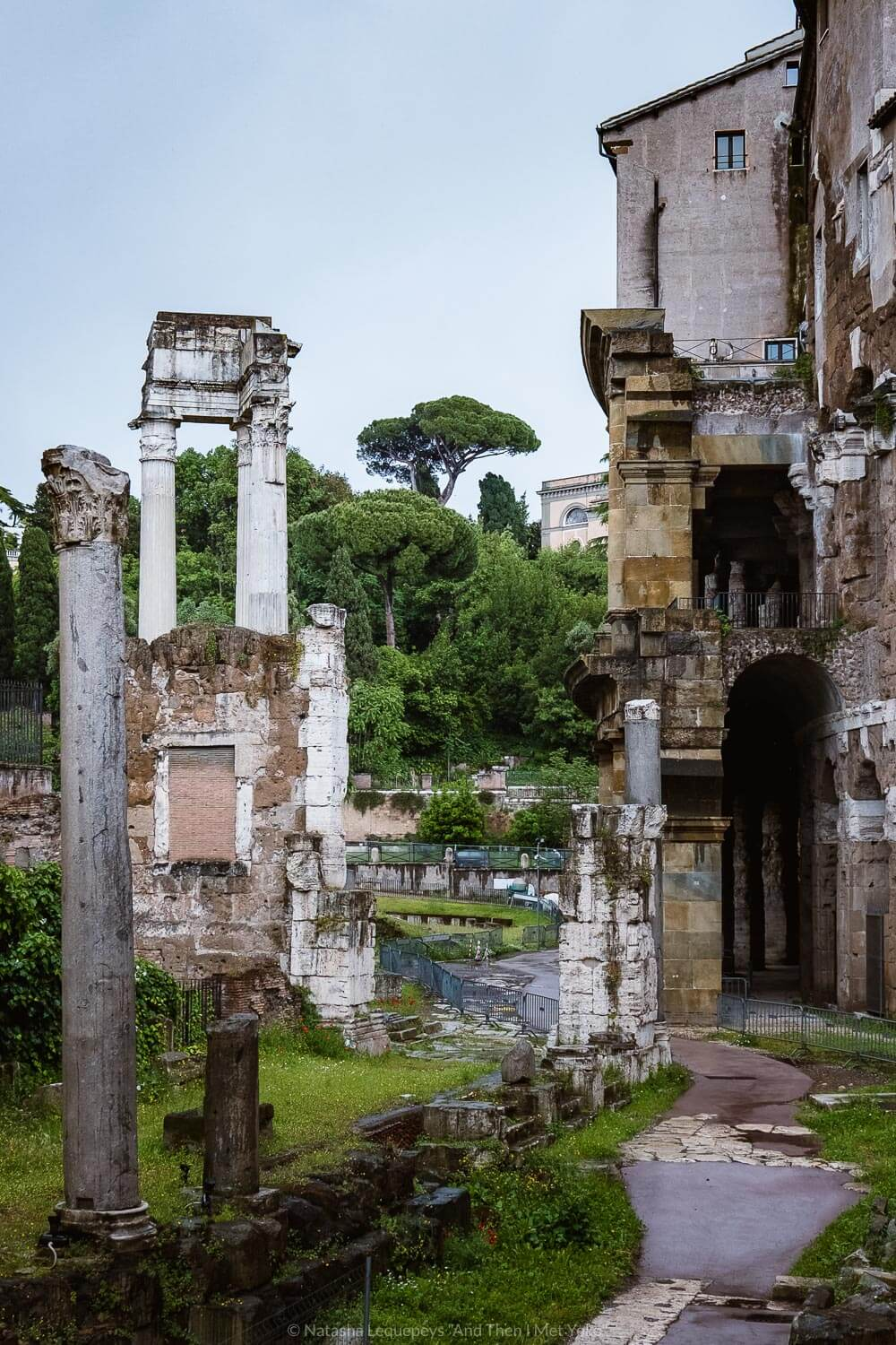 """Ruins of the ancient Roman walkway, Rome. Travel photography and guide by © Natasha Lequepeys for """"And Then I Met Yoko"""". #rome #jewishghettorome #italy #fujifilm #travelphotography"""