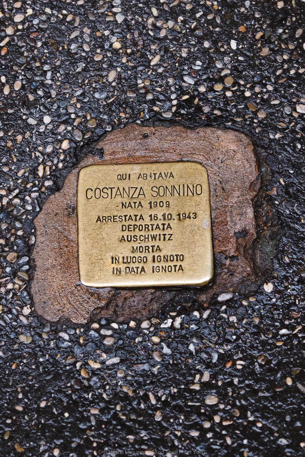 """Memorial plaques of the Jewish-Roman holocaust victims, Rome. Travel photography and guide by © Natasha Lequepeys for """"And Then I Met Yoko"""". #rome #jewishghettorome #italy #fujifilm #travelphotography"""