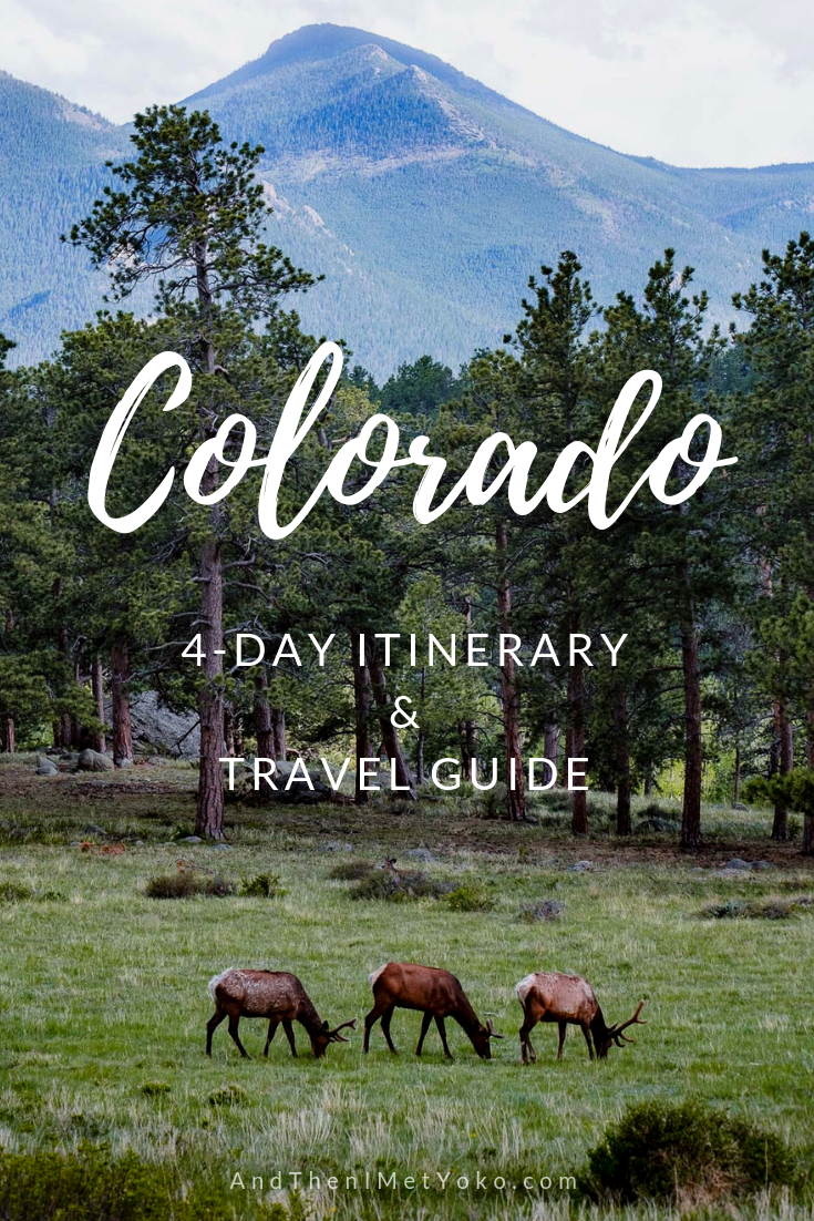 """This travel guide and 4-day itinerary to Colorado. The itinerary includes stops in Denver, Colorado Springs and Rocky Mountain National Park. Travel photography and guide by © Natasha Lequepeys for """"And Then I Met Yoko"""". #colorado #rockymountainnationalpark #travelphotography #landscapephotography"""