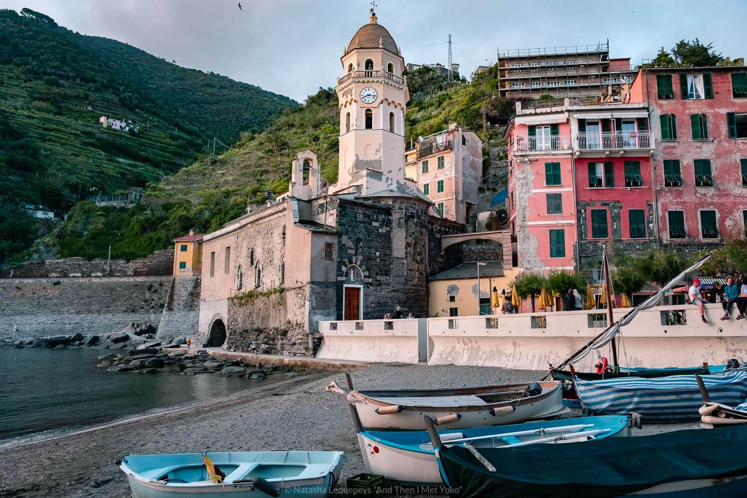 """The beach of Vernazza, Cinque Terre. Travel photography and guide by © Natasha Lequepeys for """"And Then I Met Yoko"""". #cinqueterre #italy #travelphotography"""