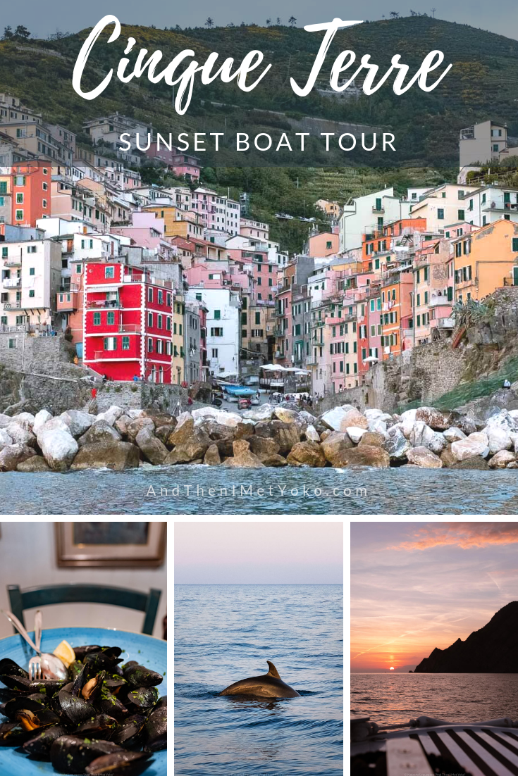 """What to expect on a sunset boat tour in Cinque Terre. I share tips and my honest thoughts. Travel photography and guide by © Natasha Lequepeys for """"And Then I Met Yoko"""". #cinqueterre #italy #travelphotography"""