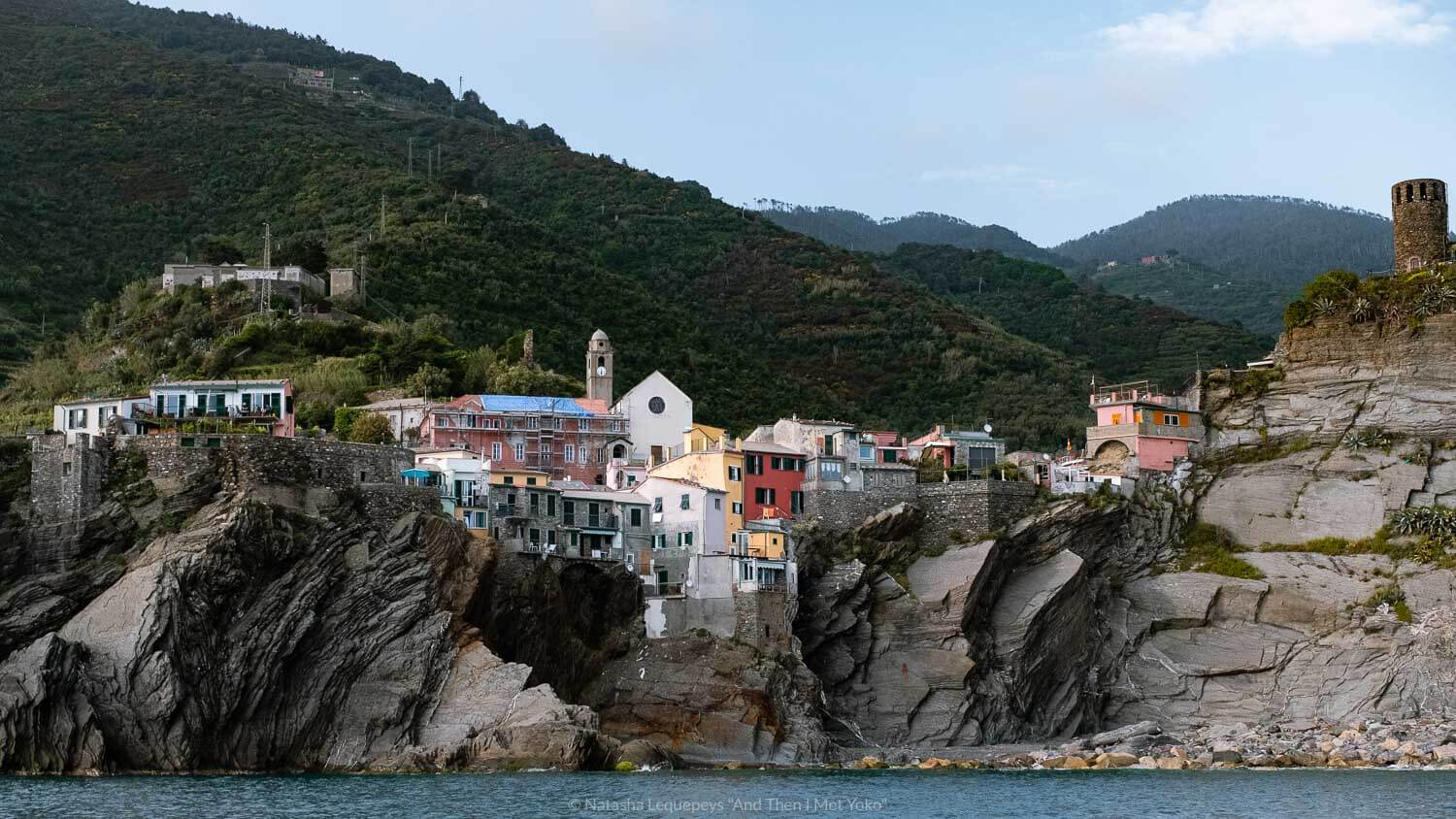"""Vernazza from the water, Cinque Terre. Travel photography and guide by © Natasha Lequepeys for """"And Then I Met Yoko"""". #cinqueterre #italy #travelphotography"""