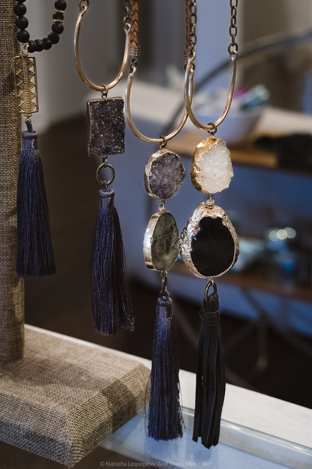 "Handmade jewelry by iSOBEL Jewelry at Midge Clothing and Goods, Savannah, GA. Travel photography and guide by © Natasha Lequepeys for ""And Then I Met Yoko"". #savannah #usa #travelguide #shoppingguide"