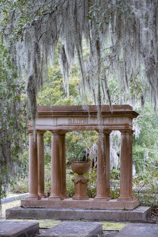 "Bacon memorial at Bonaventure Cemetery in Savannah, Georgia. Travel photography and guide by © Natasha Lequepeys for ""And Then I Met Yoko"". #bonaventurecemetery #savannah #travelguide #travelblog #travelphotography #fujifilm"