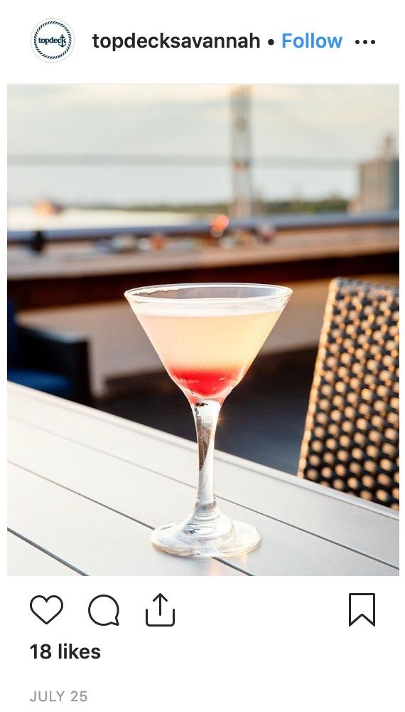 Cocktails on Top Deck Savannah, GA