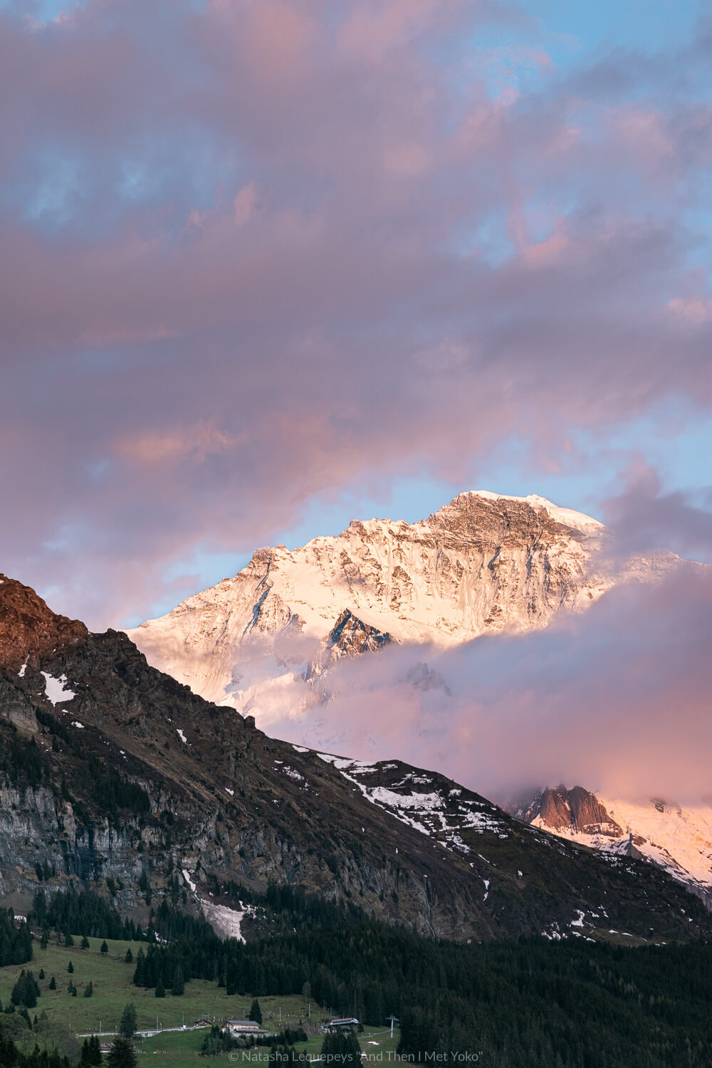 """Sunset in Wengen, Switzerland. Travel photography and guide by © Natasha Lequepeys for """"And Then I Met Yoko"""". #wengen #switzerland #jungfrau #travelphotography #fujifilm"""