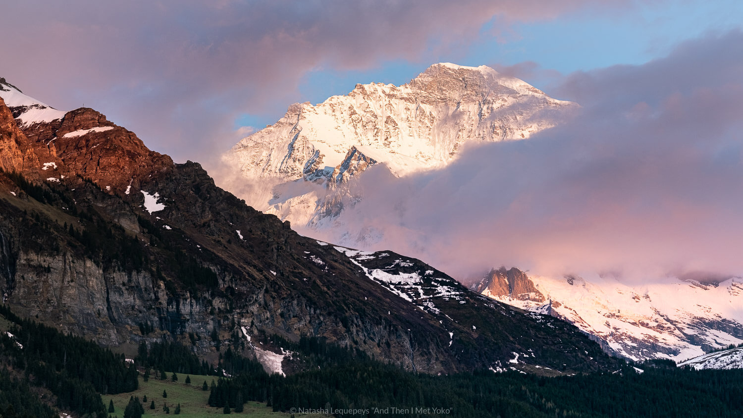 """Mountains at sunset in Wengen, Switzerland. Travel photography and guide by © Natasha Lequepeys for """"And Then I Met Yoko"""". #wengen #switzerland #jungfrau #travelphotography #fujifilm"""