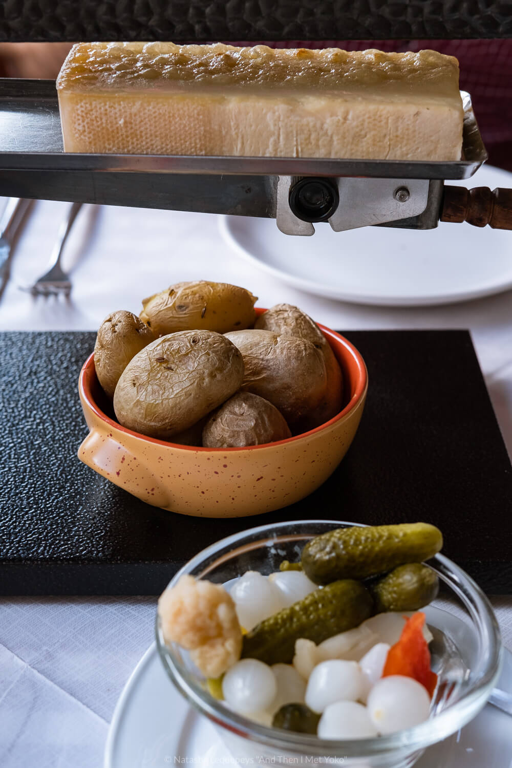 """Raclette at Restaurant Tavern, Hotel Bernerhof in Wengen, Switzerland. Travel photography and guide by © Natasha Lequepeys for """"And Then I Met Yoko"""". #wengen #switzerland #jungfrau #travelphotography"""