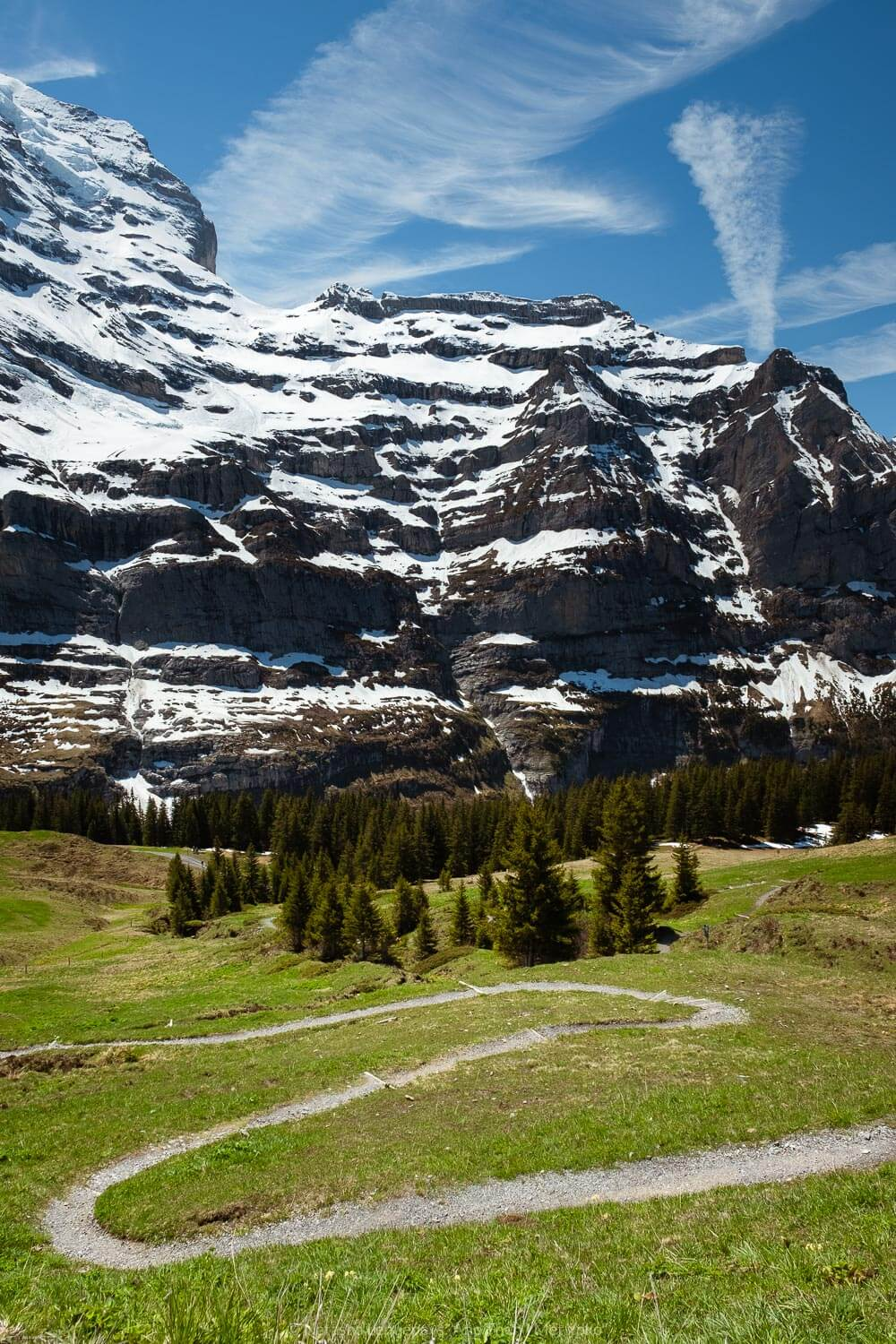 "The hiking path by Wengernalp. Travel photography and guide by © Natasha Lequepeys for ""And Then I Met Yoko"". #wengen #jungfrau #travelphotography #switzerland"
