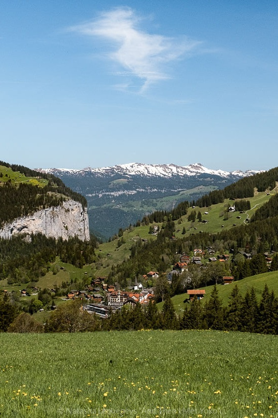 "View of Wengen on the hike to Kleine Scheidegg. Travel photography and guide by © Natasha Lequepeys for ""And Then I Met Yoko"". #wengen #jungfrau #travelphotography #switzerland"