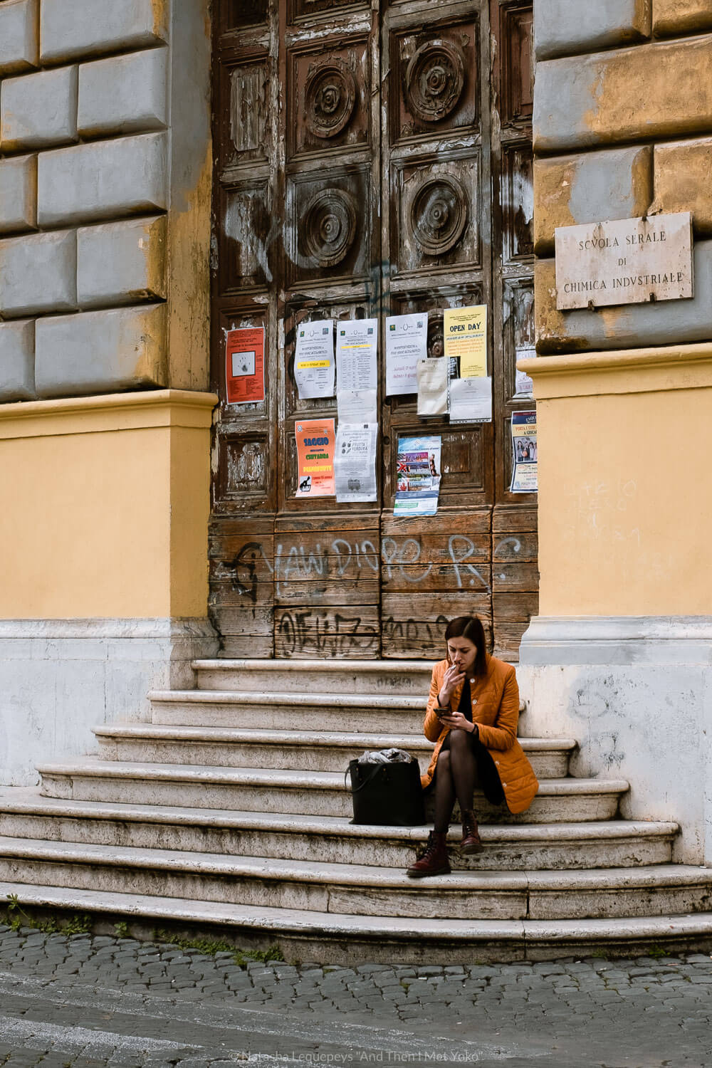 """Woman sitting on steps in Rome. Travel photography and guide by © Natasha Lequepeys for """"And Then I Met Yoko"""". #rome #italy #travelblog #travelphotography"""