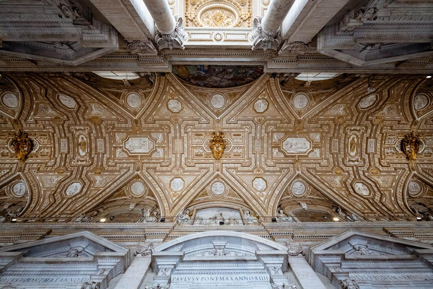 """The ceiling outside of Saint Peter's Basilica, Vatican. Travel photography and guide by © Natasha Lequepeys for """"And Then I Met Yoko"""". #rome #italy #travelblog #travelphotography"""