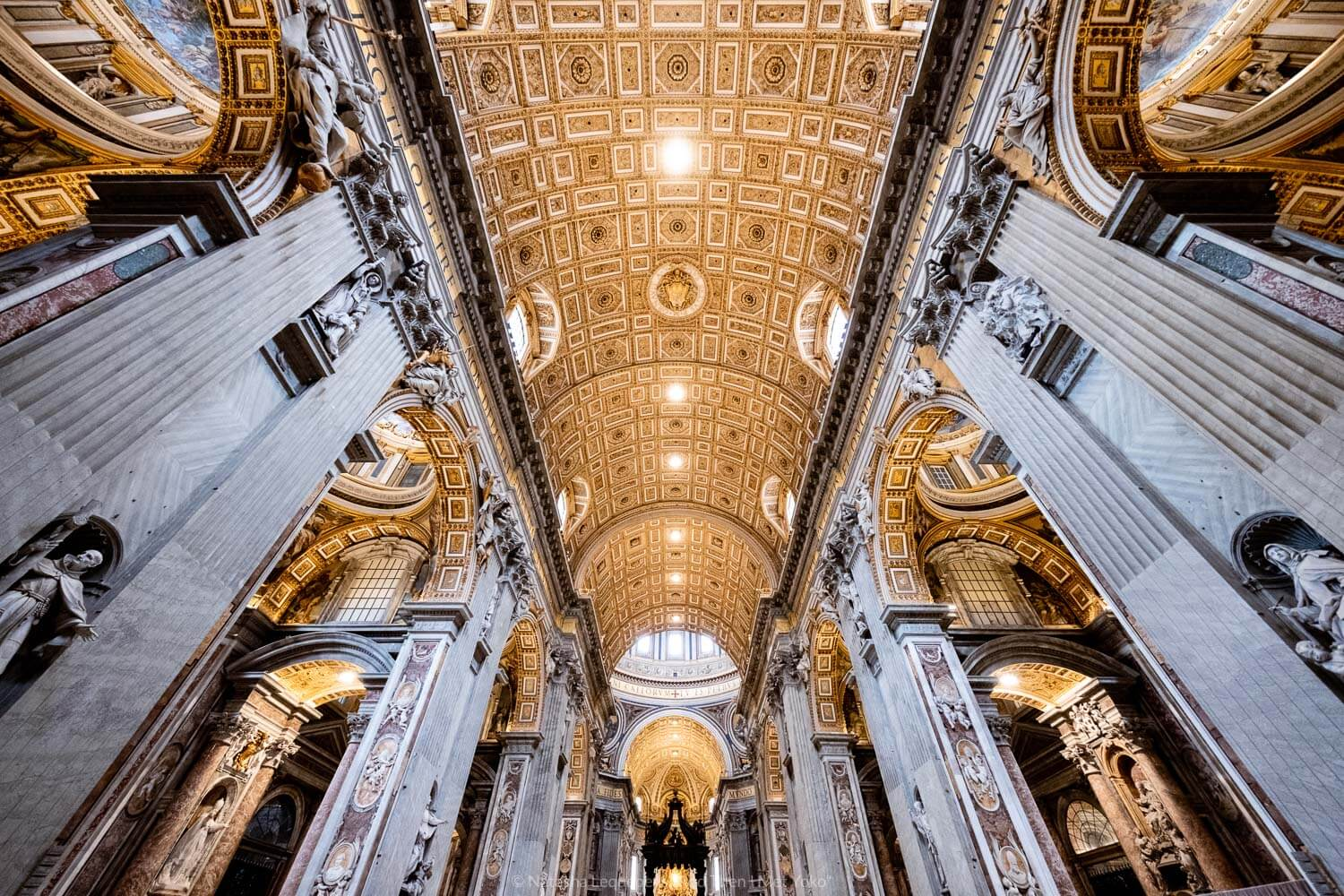 """The ceiling of Saint Peter's Basilica, Vatican. Travel photography and guide by © Natasha Lequepeys for """"And Then I Met Yoko"""". #rome #italy #travelblog #travelphotography"""