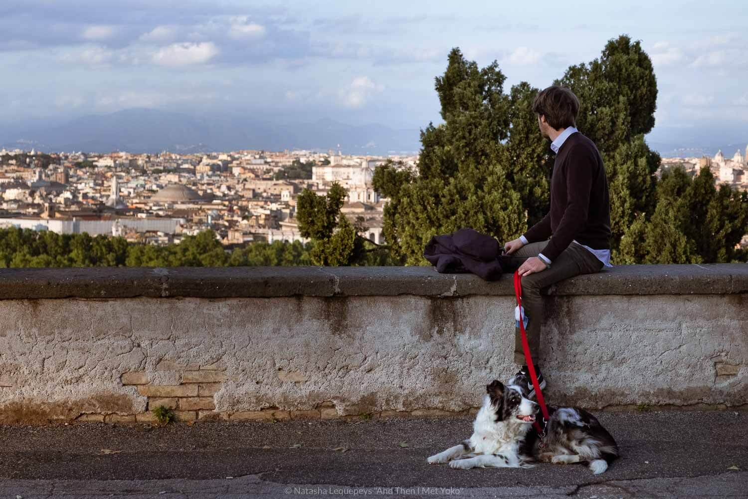 """A man looking out from the Janiculum Terrace. Travel photography and guide by © Natasha Lequepeys for """"And Then I Met Yoko"""". #rome #italy #travelblog #travelphotography"""