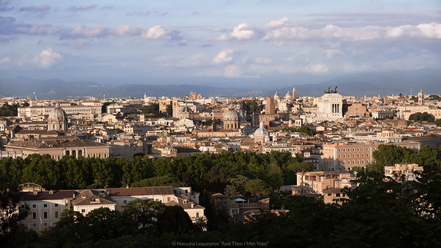 """Views from the Janiculum Terrace. Travel photography and guide by © Natasha Lequepeys for """"And Then I Met Yoko"""". #rome #italy #travelblog #travelphotography"""