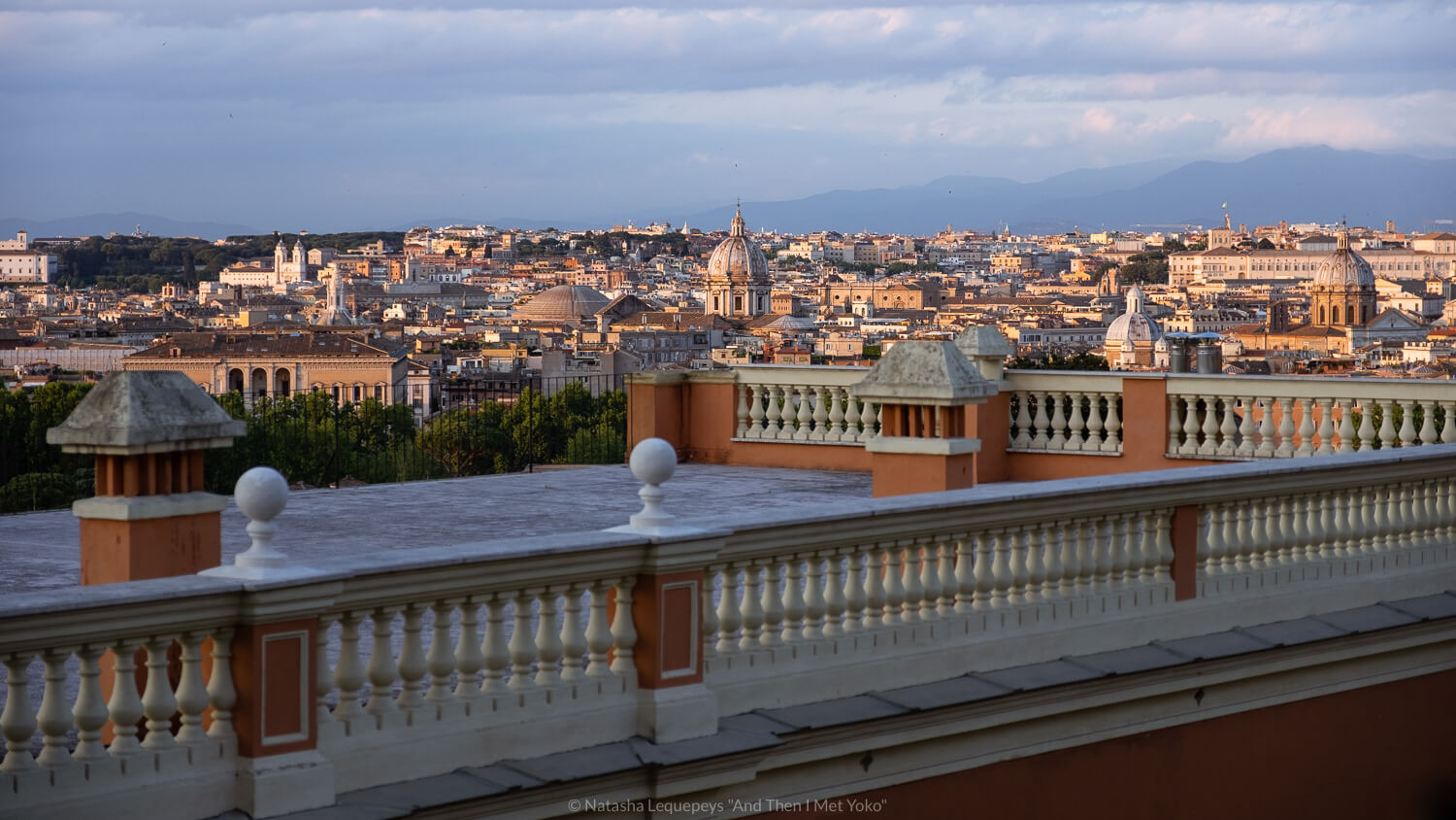 """A view of Rome from above. Travel photography and guide by © Natasha Lequepeys for """"And Then I Met Yoko"""". #rome #italy #travelblog #travelphotography"""