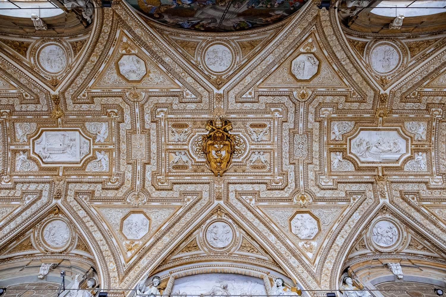 """The ceiling outside St Peter's Basilica, Vatican. Travel photography and guide by © Natasha Lequepeys for """"And Then I Met Yoko"""". #rome #italy #travelblog #travelphotography"""