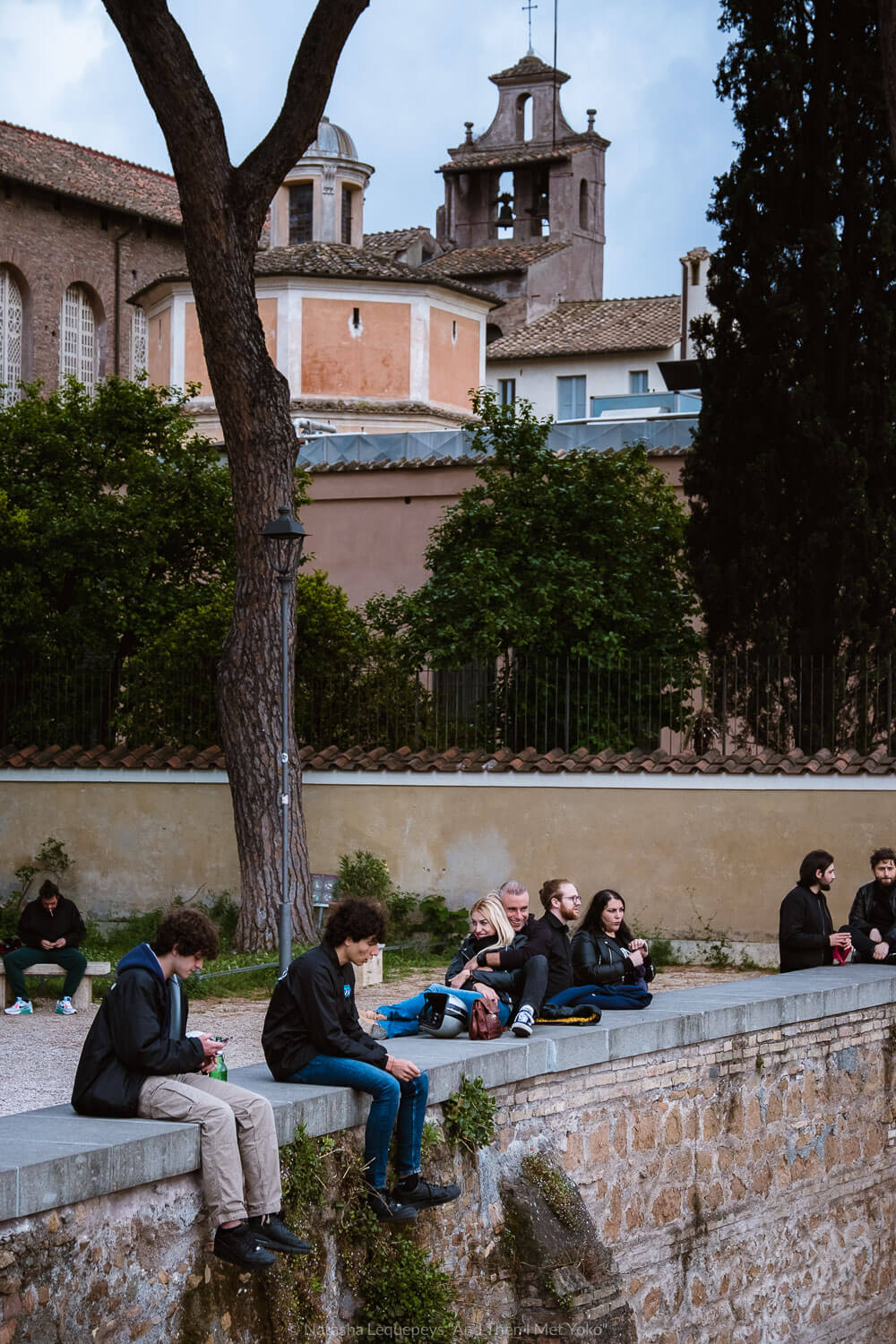 """Locals enjoying the view in the Orange garden. Travel photography and guide by © Natasha Lequepeys for """"And Then I Met Yoko"""". #rome #italy #travelblog #travelphotography"""