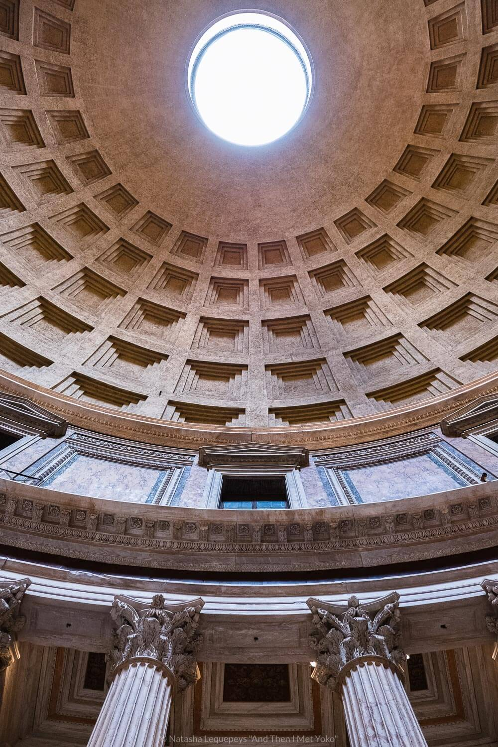 """The dome ceiling in the Pantheon in Rome, Italy. Travel photography and guide by © Natasha Lequepeys for """"And Then I Met Yoko"""". #rome #italy #travelblog #travelphotography"""