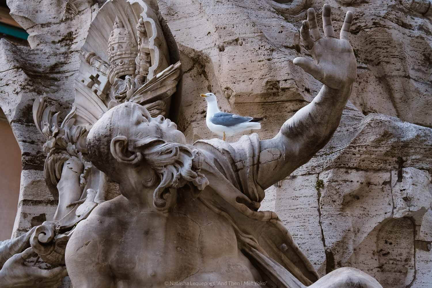 """The Rio de la Plata River God, Piazza Navona, Rome. Travel photography and guide by © Natasha Lequepeys for """"And Then I Met Yoko"""". #rome #italy #travelblog #travelphotography"""