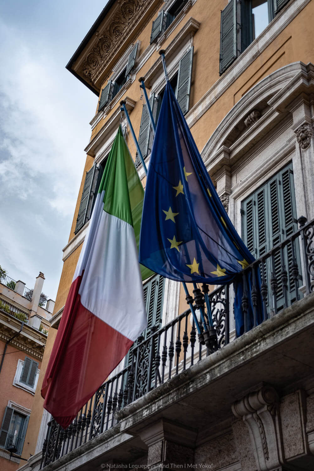"""Italian and European Union flags, Rome. Travel photography and guide by © Natasha Lequepeys for """"And Then I Met Yoko"""". #rome #italy #travelblog #travelphotography"""