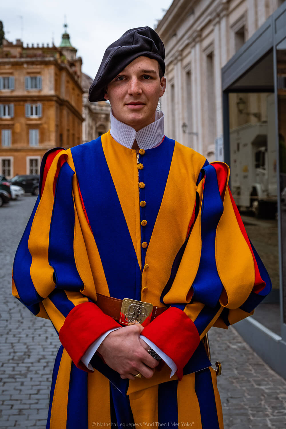 """A Swiss Guard at the Vatican. Travel photography and guide by © Natasha Lequepeys for """"And Then I Met Yoko"""". #rome #italy #travelblog #travelphotography"""