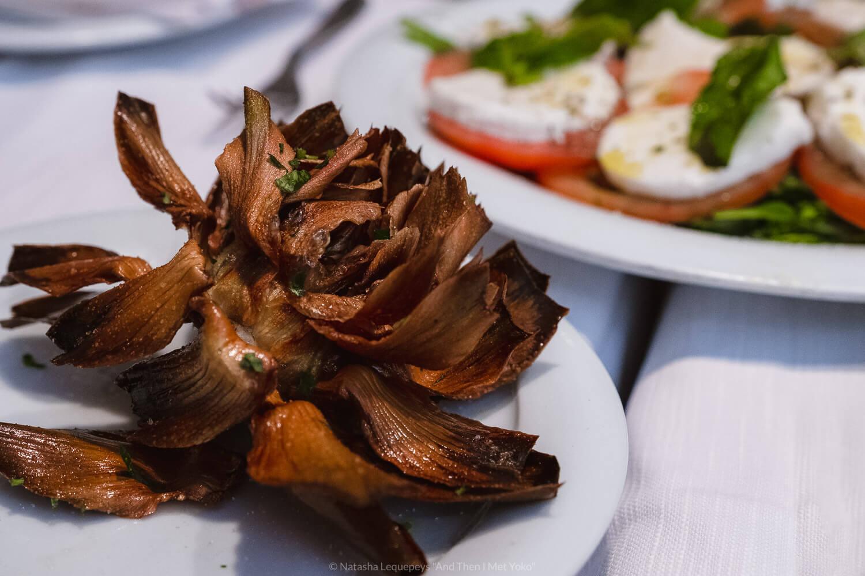 Fried artichoke at La Taverna de Ghetto