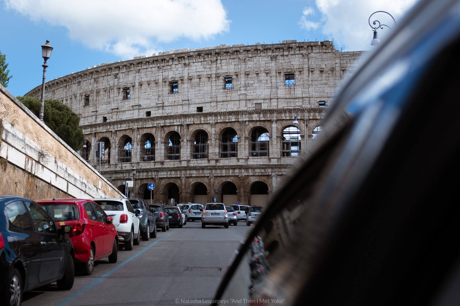 """View of the Colosseum from inside a taxi, Rome. Travel photography and guide by © Natasha Lequepeys for """"And Then I Met Yoko"""". #rome #italy #travelblog #travelphotography"""