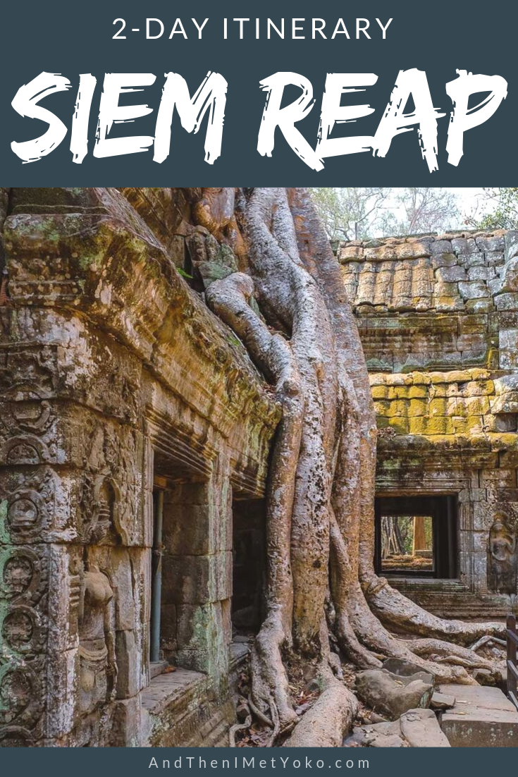 """Spend 2 days exploring ancient temples like Angkor Wat and the backcountry of Siem Reap. I review 2 Siem Reap private tour experiences. Includes my highlights with tips and inspirational photos. © Travel photography and guide by Natasha Lequepeys for """"And Then I Met Yoko"""". #siemreap #angkorwat #taprohm #travelguide #travelblog"""