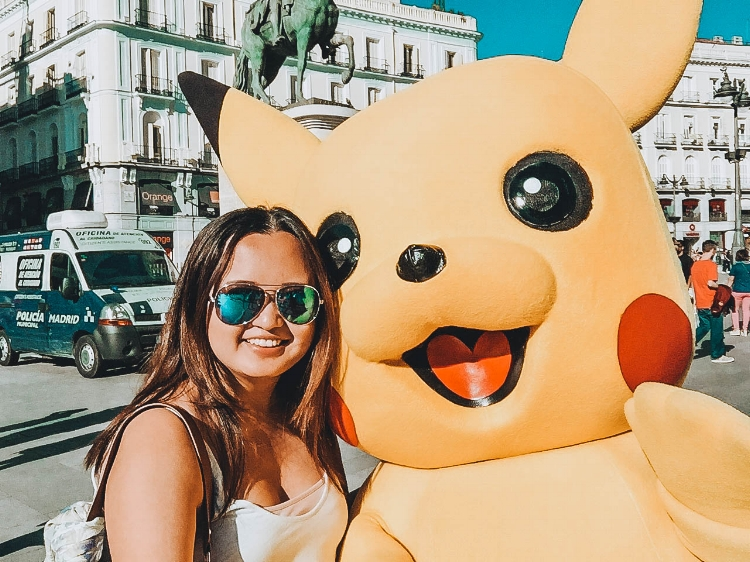 One of the wonderful moments of solo female travel: Spain. I was in Madrid during the popularity of the app called 'Pokemon Go' and was able to catch a Pikachu!