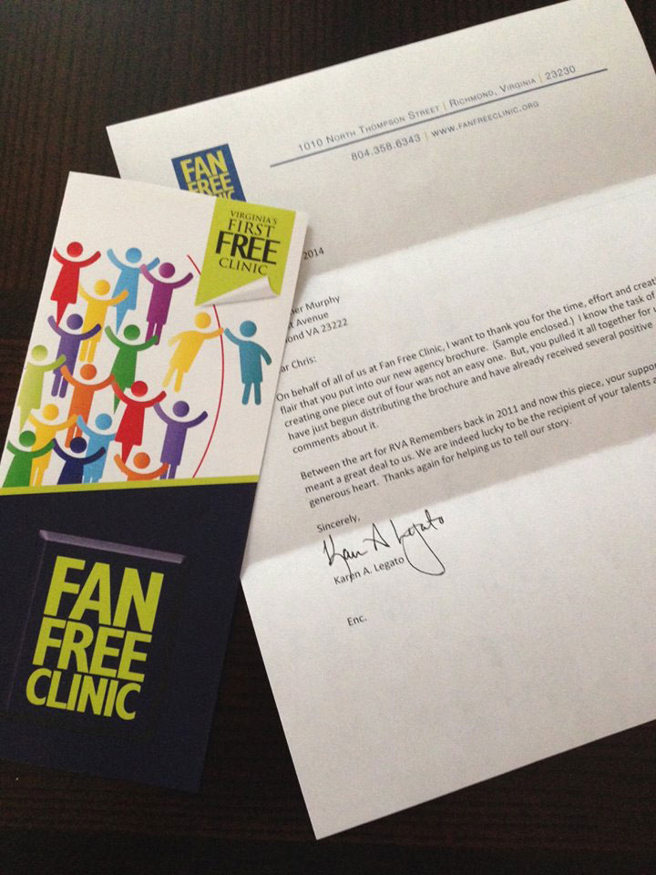 Fan Free Clinic Brochure Graphic Design and Thank You Letter
