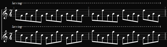Note how the highest note happens on the same beats in the first measure, then goes back and forth in the second. This repeats any time the two acoustics are playing in this song.