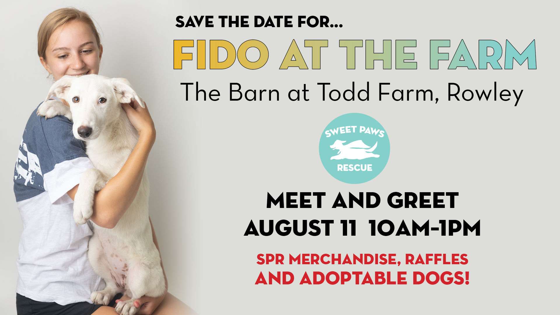 Come meet our available puppies and dogs on August 11th, from 10am - 1pm at The Barn at Todd Farm! We have a transport of dogs arriving just for this event - lots of elbow room - some of our new SPR gear - and great shopping right in the Barn too! Applications can be taken on site - but you can also get pre-approved prior to the meet & greet. Information on SPR's adopting process can be found here: www.sweetpawsrescue.org/adoption-info   ...our new pups look forward to meeting you!