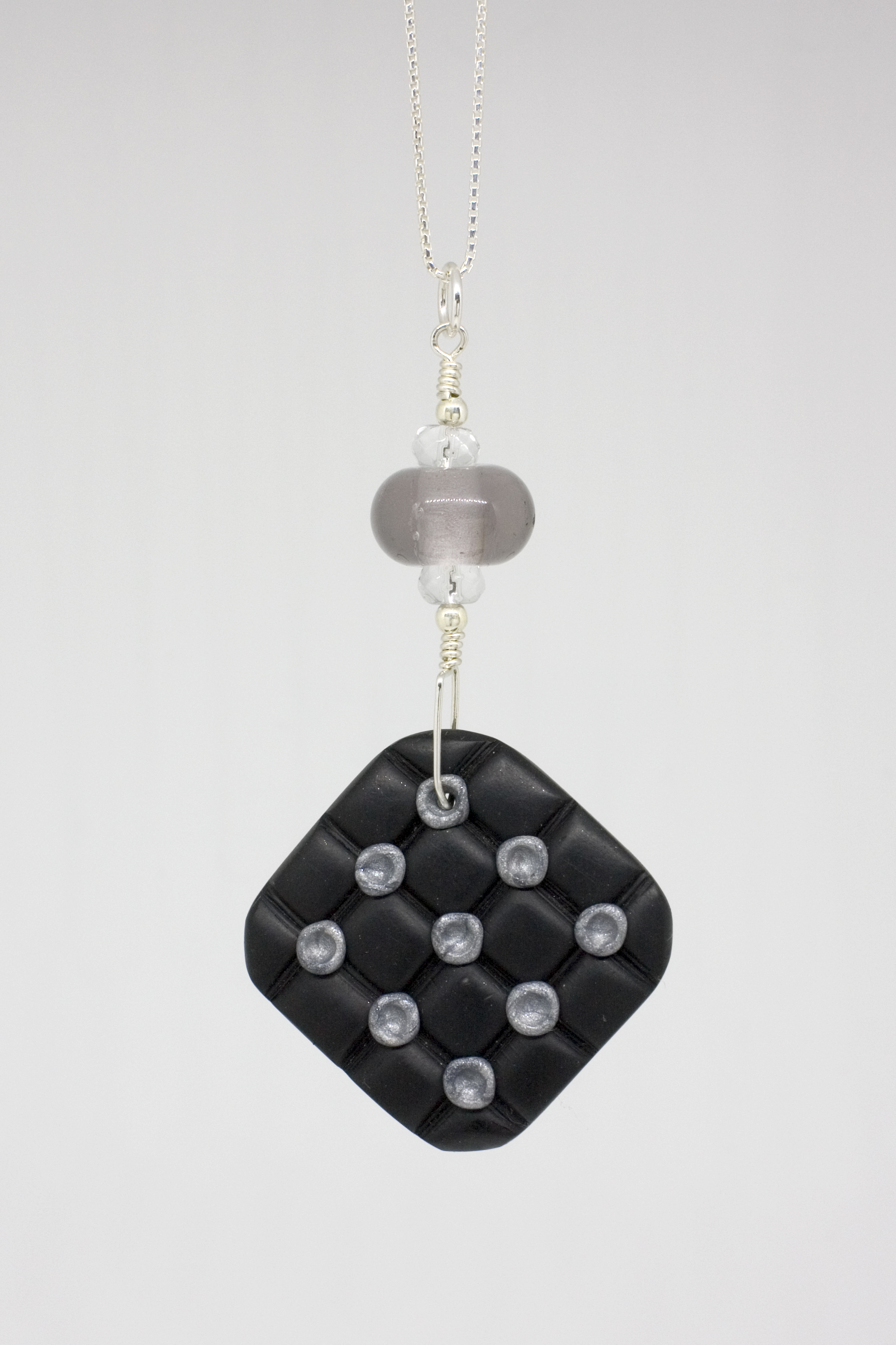 Week 1 -  flamworked glass, polymer clay, sterling silver
