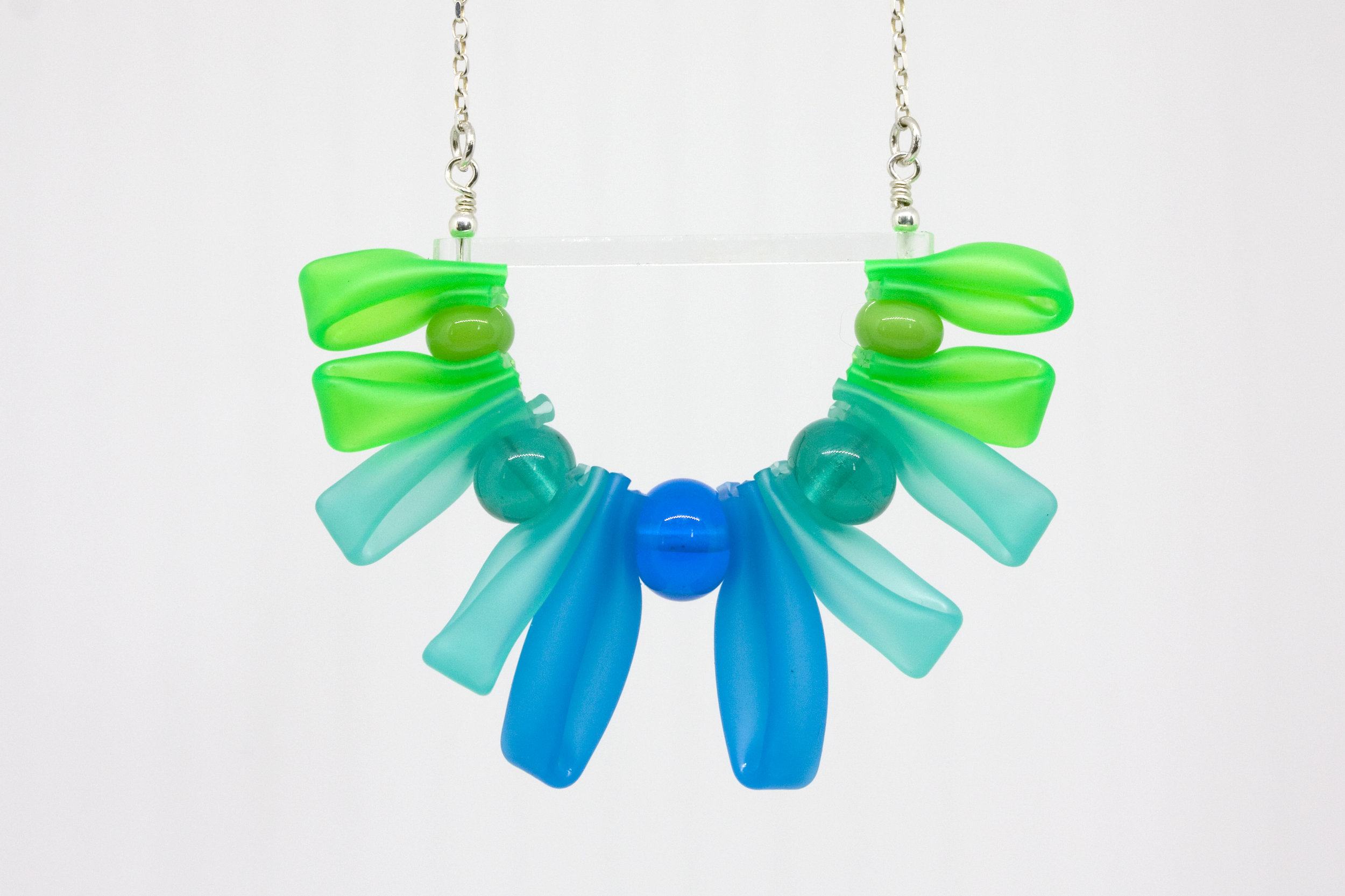 Week 37 -  silicone tube, flameworked glass, lasercut acrylic, sterling silver