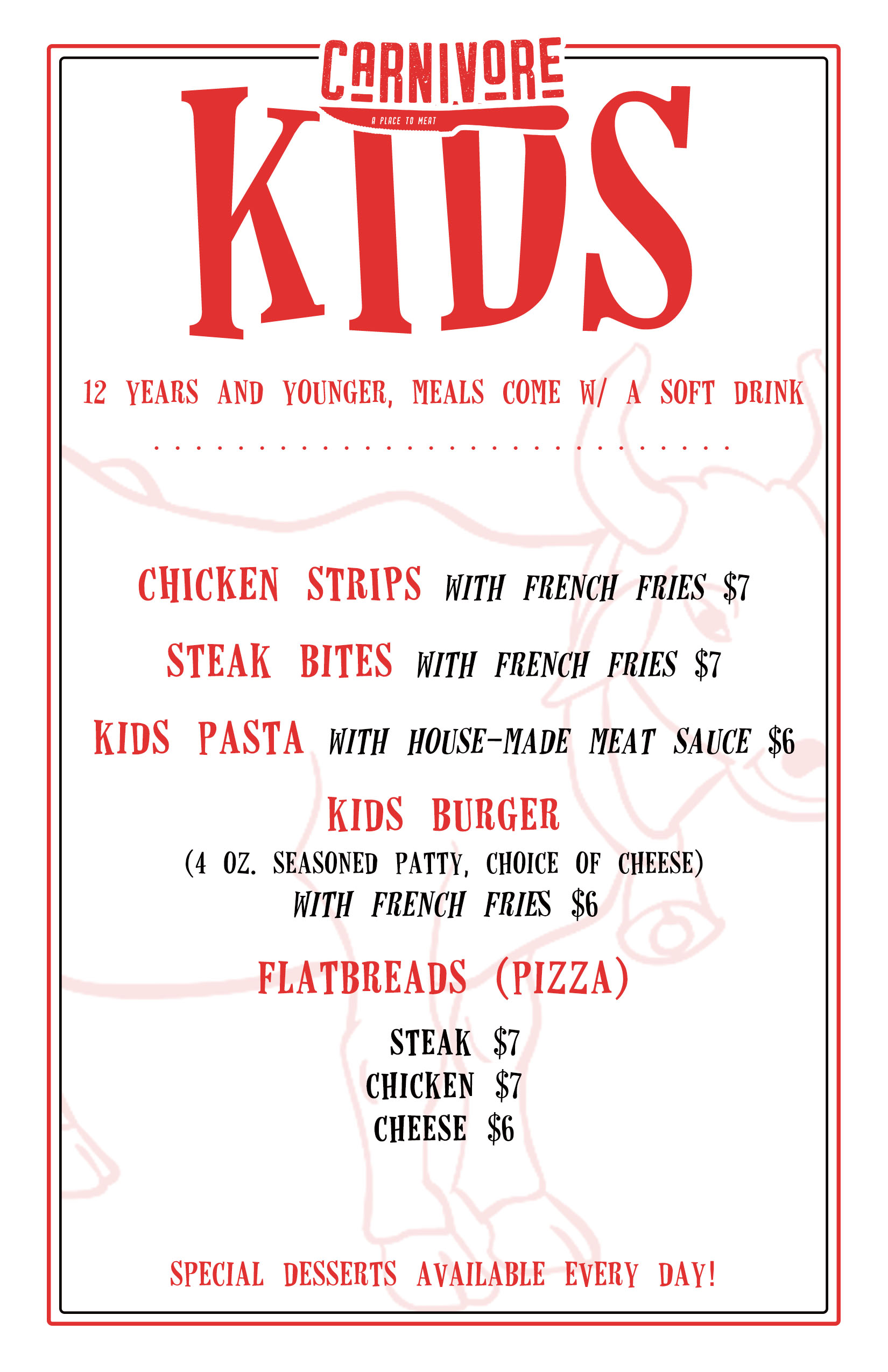 New Kid's Menu! - Bring the whole family in and let us take care of everything!