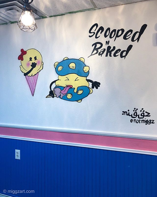 Had the pleasure of painting this little boogie on the wall of a local vegas ice cream shop. @scoopedbaked 🍦 Vegas is HOT hot 🥵🔥 So you KNOW we need those & this one is awesome! 🍦 They make homemade ice cream, with all natural flavors & have amazing flavors like toasted almond, and hazlenut. If you're ever in vegas you NEED to check them out, and give my little mural a high 5 🥰 ______________________ Follow 🎨 @notmiggz Visit website 🌐 & Shop 🛍 Link ☝🏽 in bio ______________________