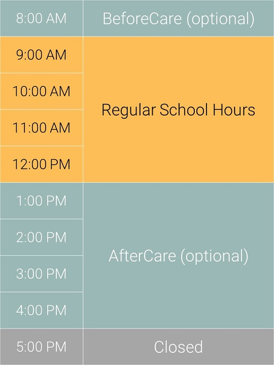 IPCP's optional ExtendedCare Program is available from 8 to 9 AM (BeforeCare) as well as 1 to 5 PM (AfterCare). -