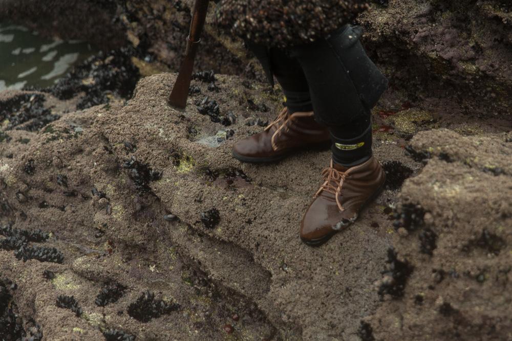 December 13, 2011 - Laxe (La Coruña). Detail of the torn shoes of a percebeiro. © Thomas Cristofoletti 2011