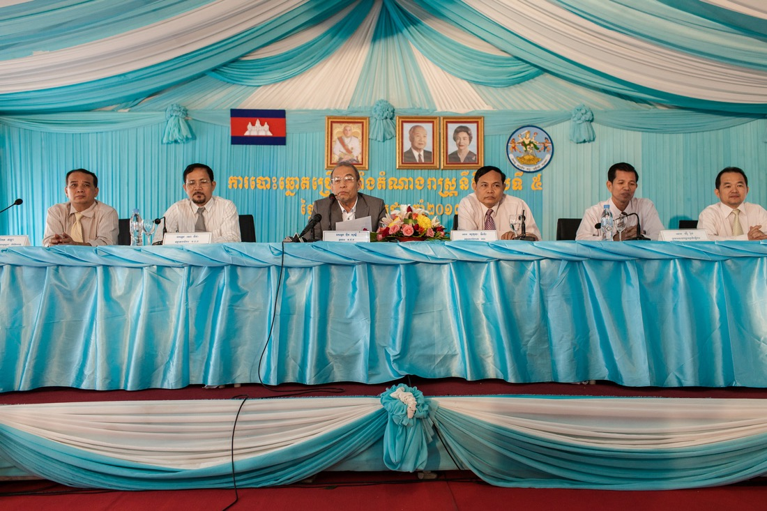 July 27, 2013 - Phnom Penh. NEC (National Electoral Committee) organises a press conference after the release of a video in which a staffer for election watchdog Comfrel can be seen scrubbing the ink completely from his forefinger in just minutes using a simple solution. © Thomas Cristofoletti / Ruom
