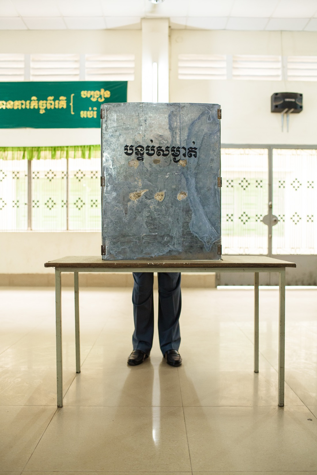 Cambodian Prime Minister Hun Sen casts his ballot
