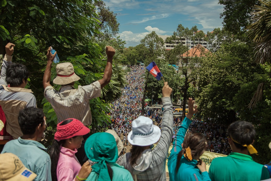 CNRP supporters continue their protest through the streets of Phnom Penh.