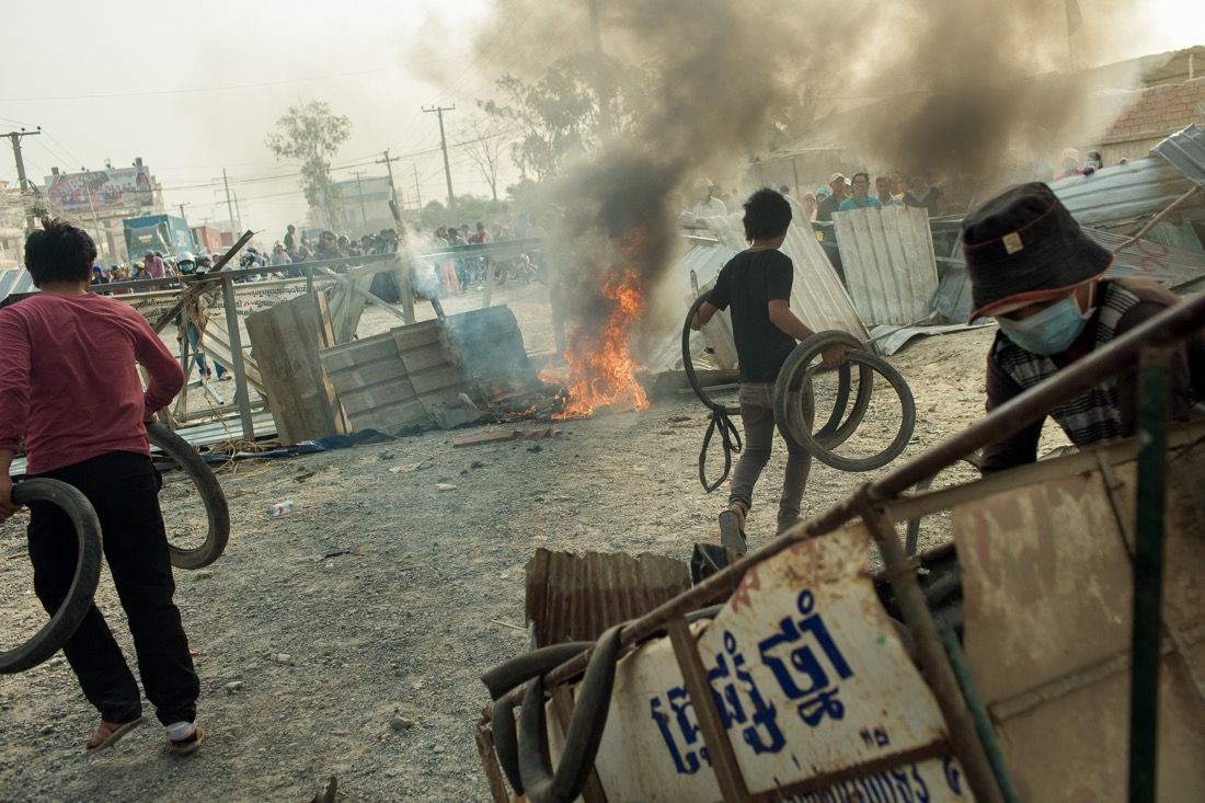 Crackdown On Cambodian Garment Workers Striking In Phnom Penh