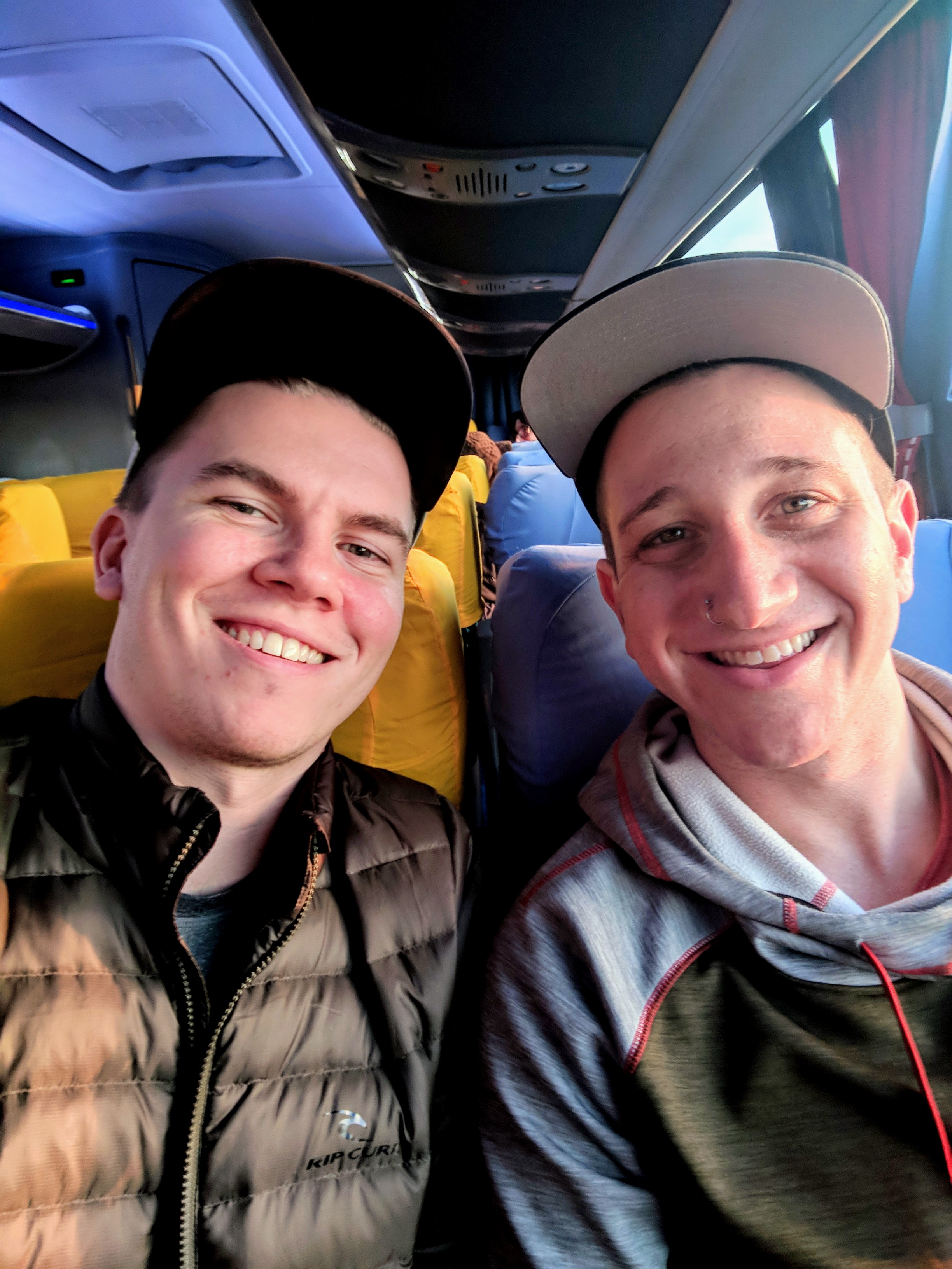 Excuse the puffy eyes and the sleepy faces, it was a REALLY early bus to cross the border. We had grand plans of being signed into work on time today.