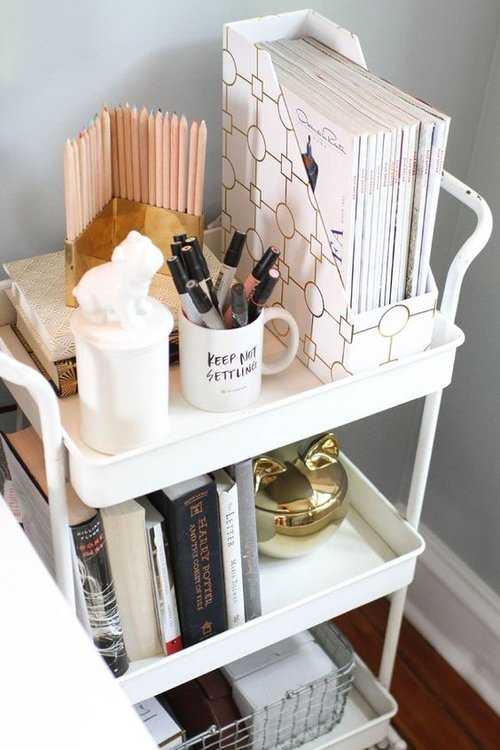 3.A Bar Cart for the Bedroom - Yes, you heard it right; bar carts are a perfect, space-saving piece that can be used to store items other than alcohol and glasses. Keep one in the corner of your bedroom to place items such as jewelry, pens, and other knick-knacks that you'd usually keep on a nightstand or in a drawer, leaving you more space for clothing items!Image credits: buzzfeed.com via Pinterest