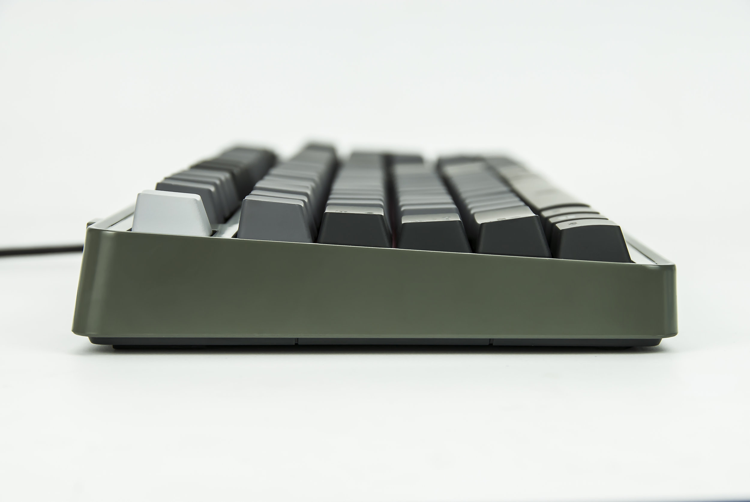 a black keyboard with a cord