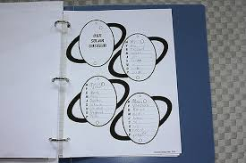 a blue three ring binder with a graphic organizer that is 4 ovals with lines for writing.